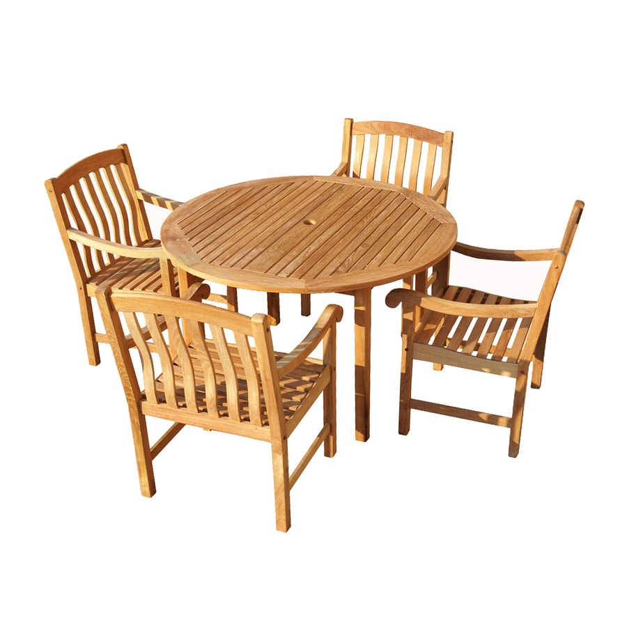 Boston Loft Furnishings 5-Piece Light Brown Teak Patio Dining Set
