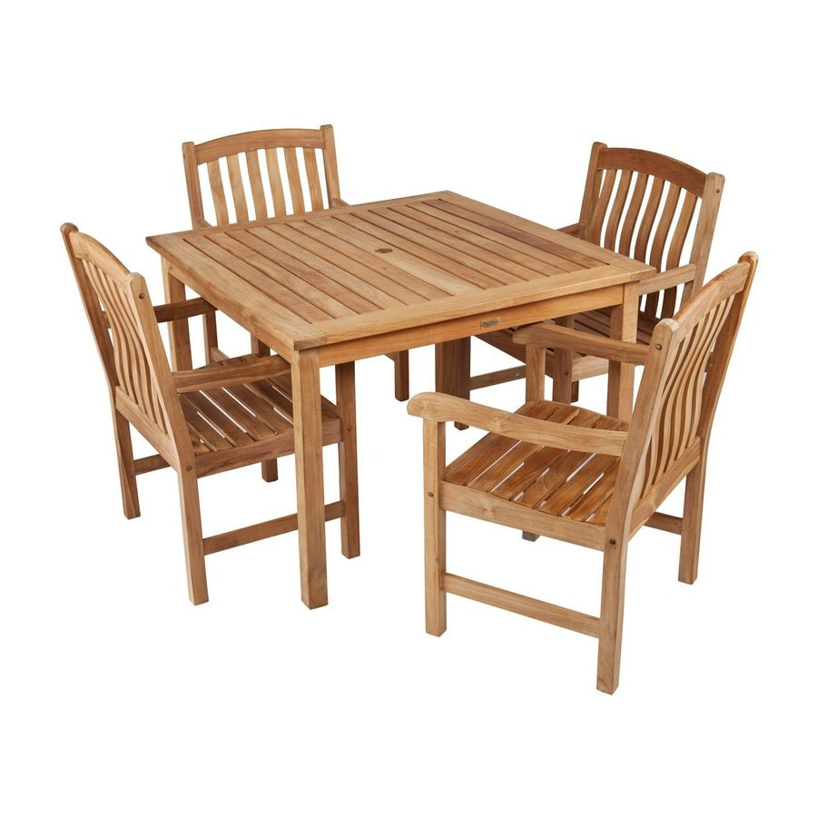 Boston Loft Furnishings Kolbie 5-Piece Unstained Teak Patio Dining Set