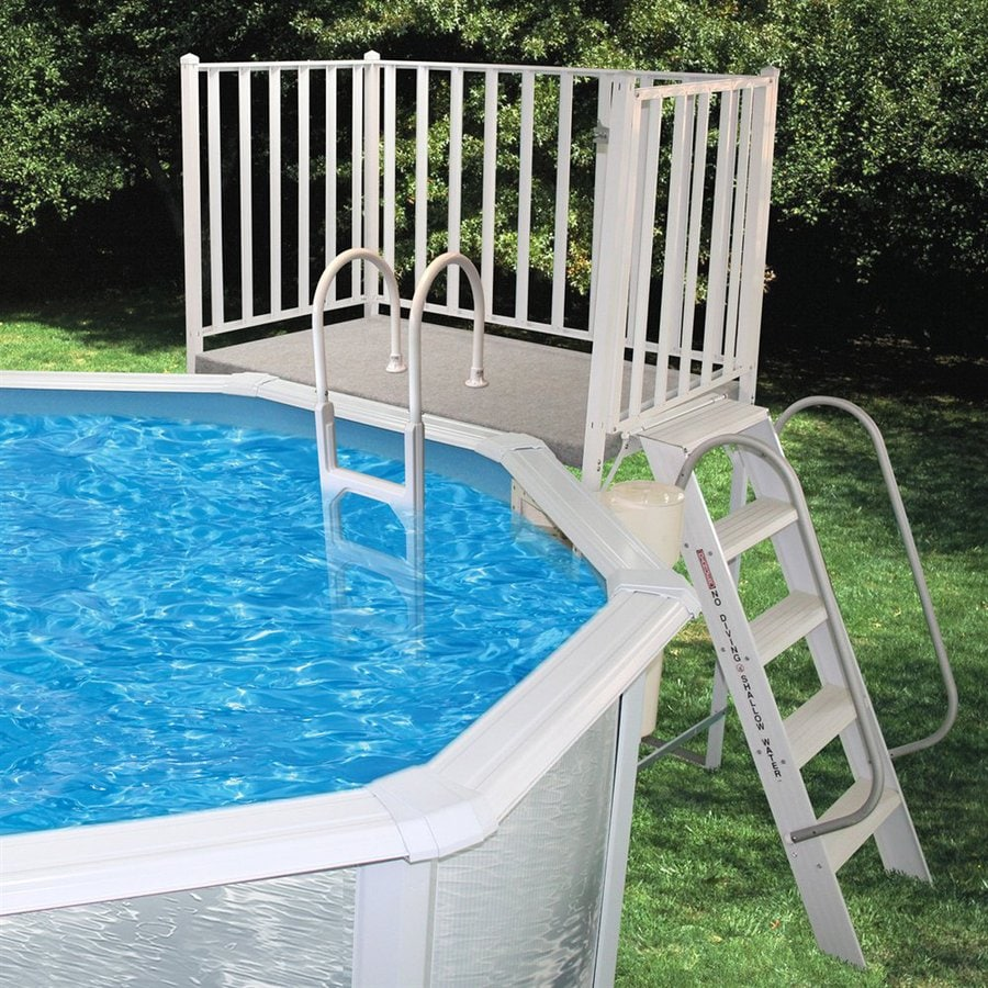 splash pools 52 in aluminum pool deck ladder with hand rail - Above Ground Pool Steps Diy