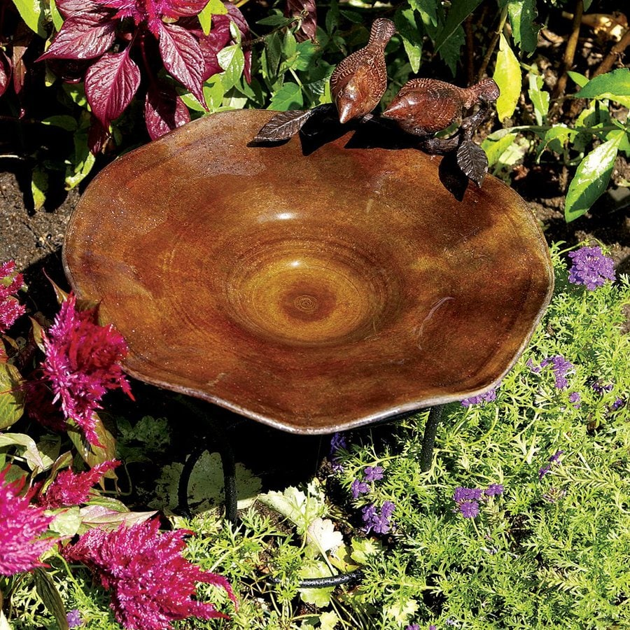 ACHLA Designs 5-in H 1-Tier Round Metal Birdbath
