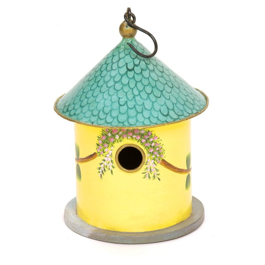 ACHLA Designs 8-in W x 12-in H x 8-in D Yellow Bird House