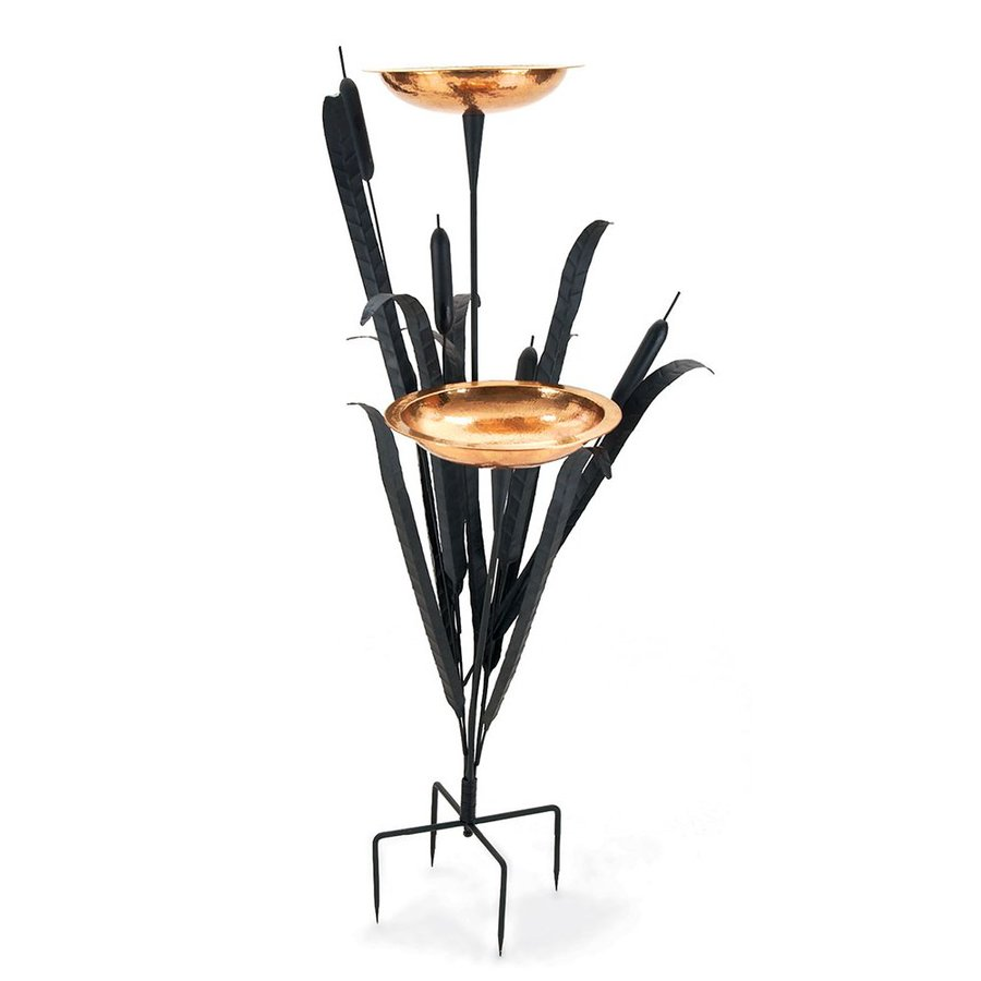 ACHLA Designs Double Cattail 50-in H 2-Tier Round Metal Birdbath