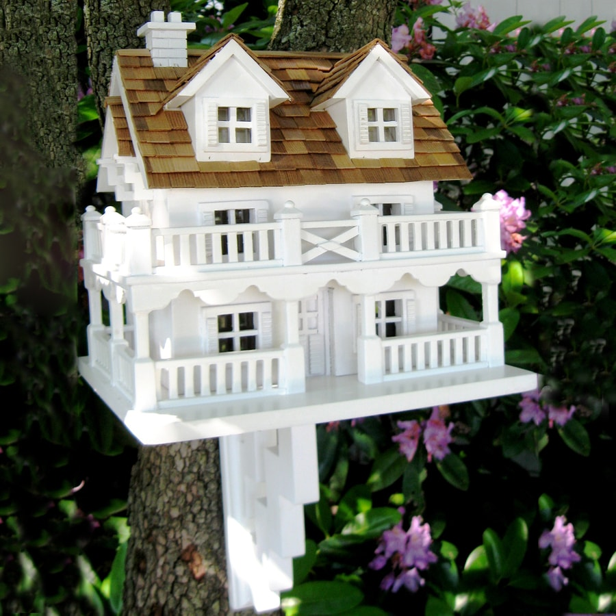 Home Bazaar 9.5-in W x 11-in H x 10.5-in D White Bird House