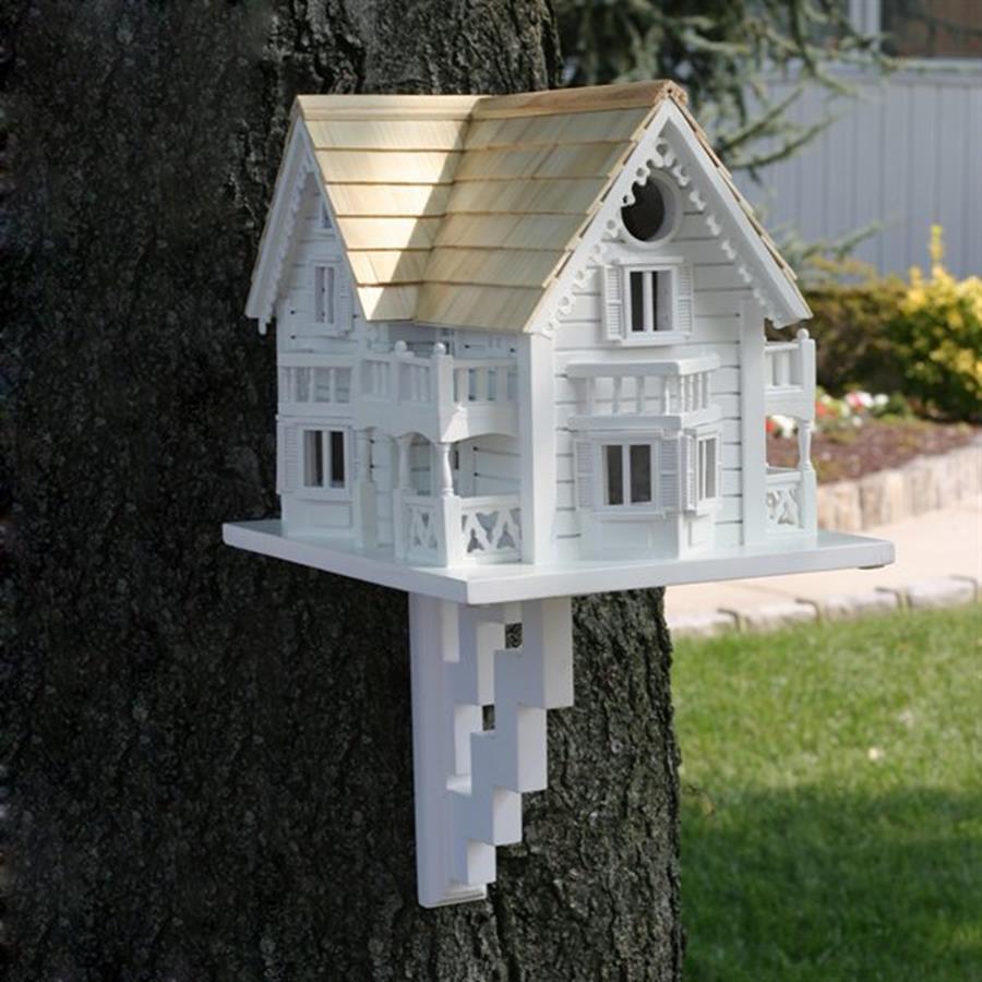 Home Bazaar 9.5-in W x 9.5-in H x 11-in D White Bird House