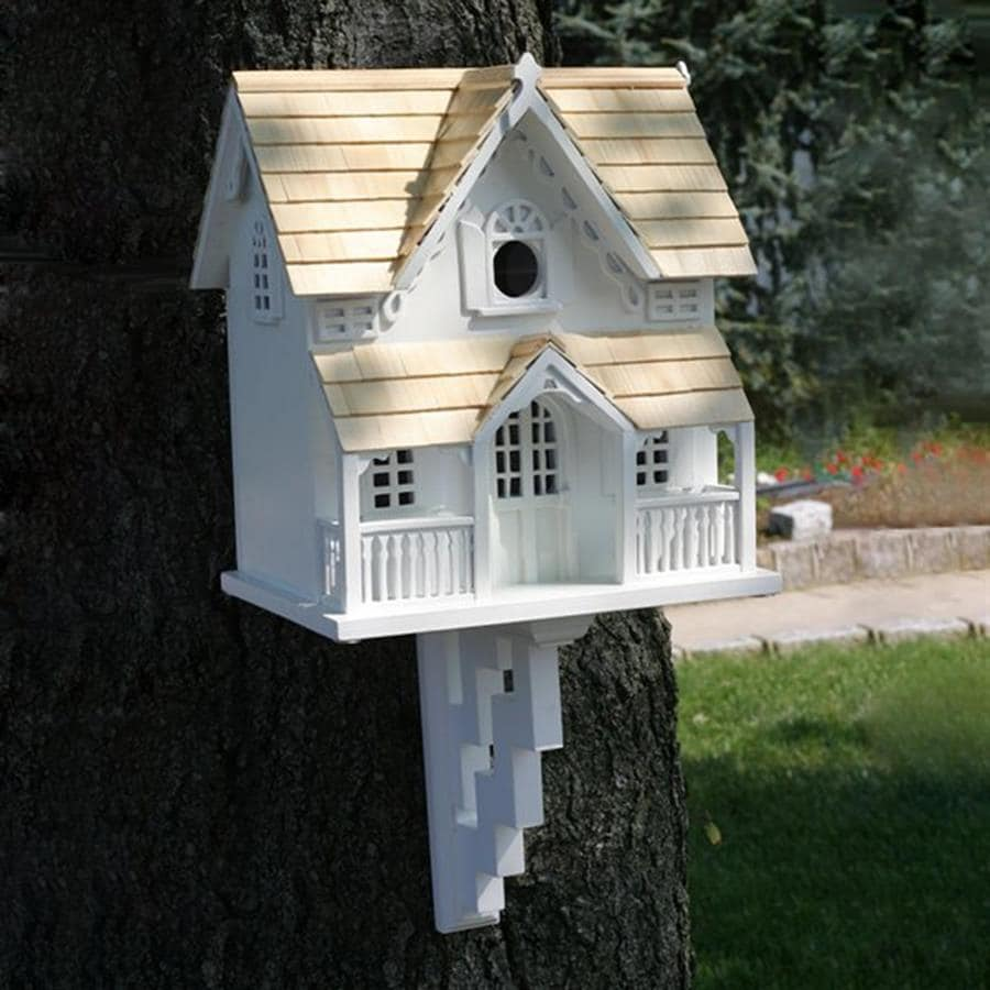 Home Bazaar 7.5-in W x 12-in H x 10.5-in D White Bird House