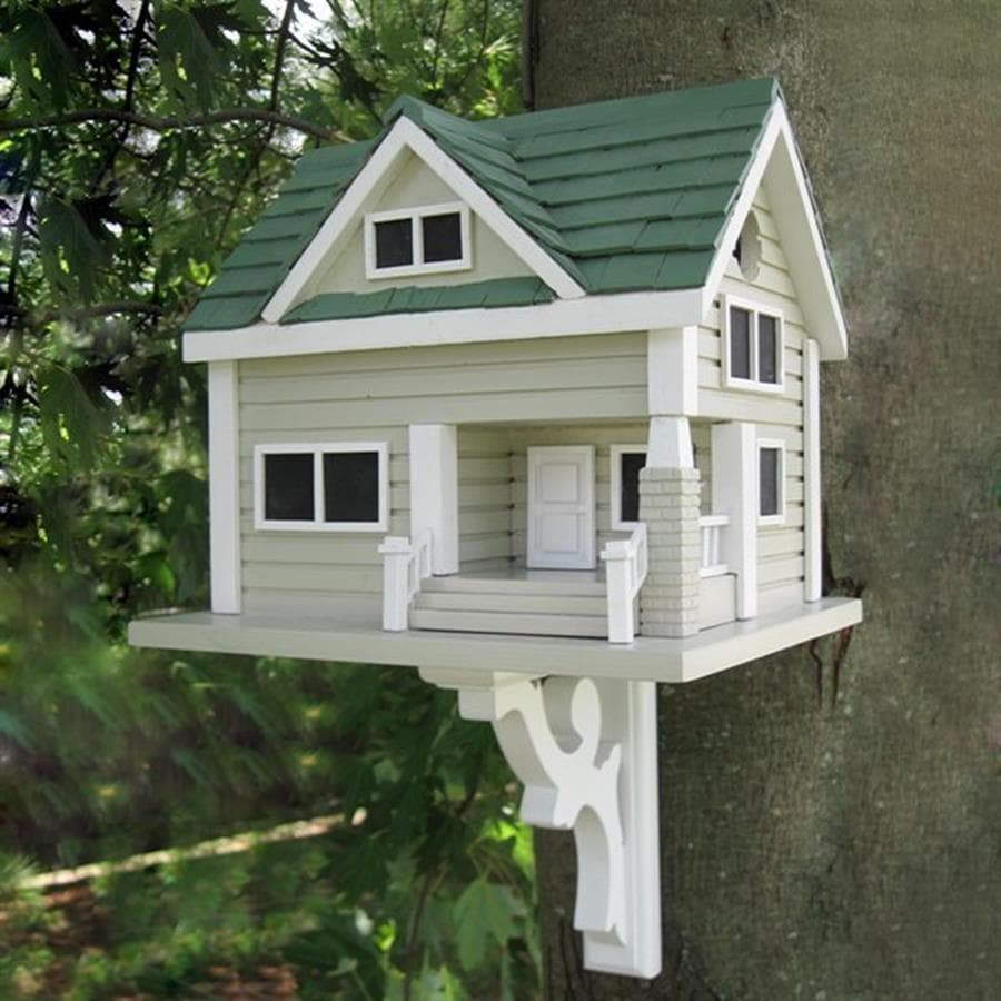 Home Bazaar 12-in W x 13-in H x 13-in D Gray Bird House