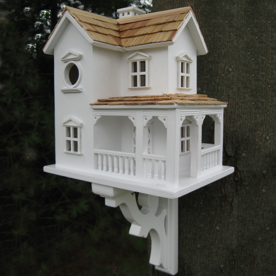 Home Bazaar 7-in W x 12-in H x 9.5-in D White Bird House