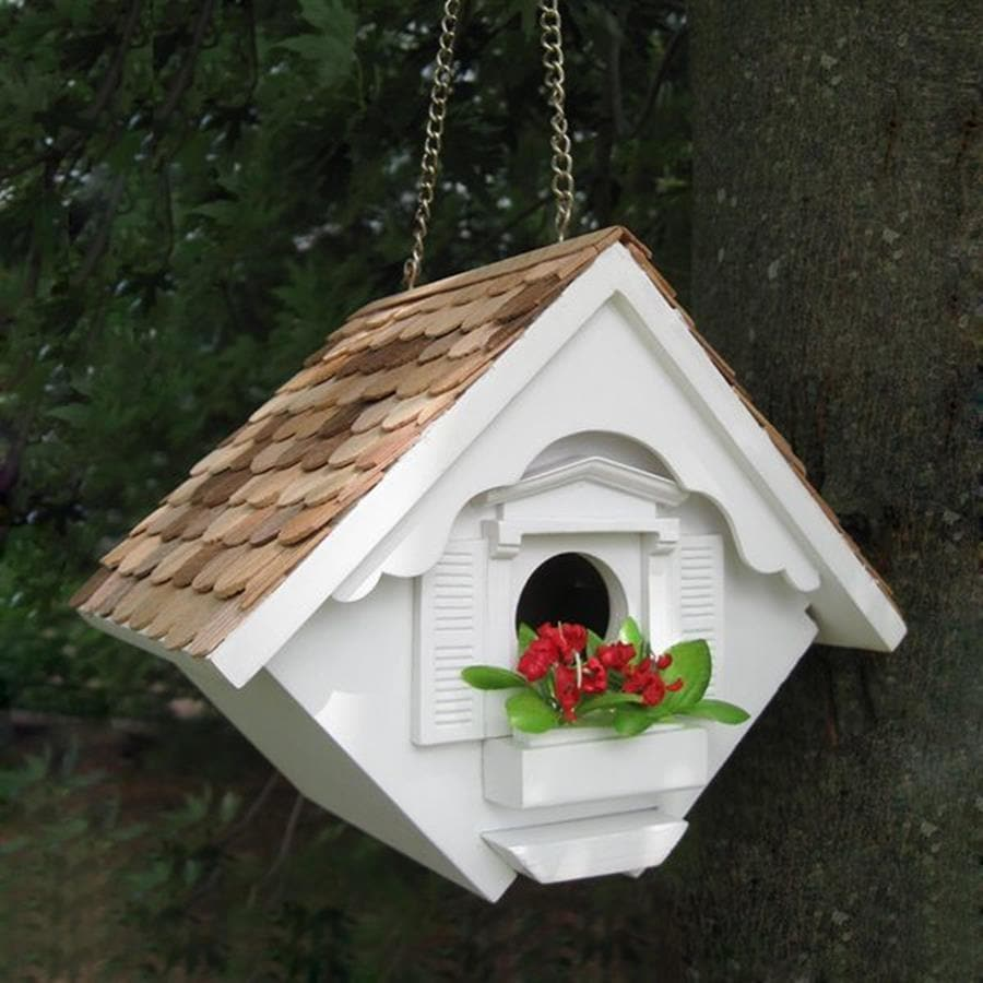 Home Bazaar 5.5-in W x 8-in H x 6.5-in D White Bird House