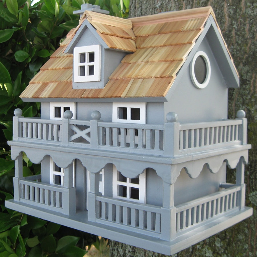 Home Bazaar 7.25-in W x 10.25-in H x 10.75-in D Blue Bird House