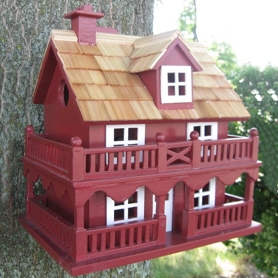 Home Bazaar 7.25-in W x 10.25-in H x 10.75-in D Red Bird House