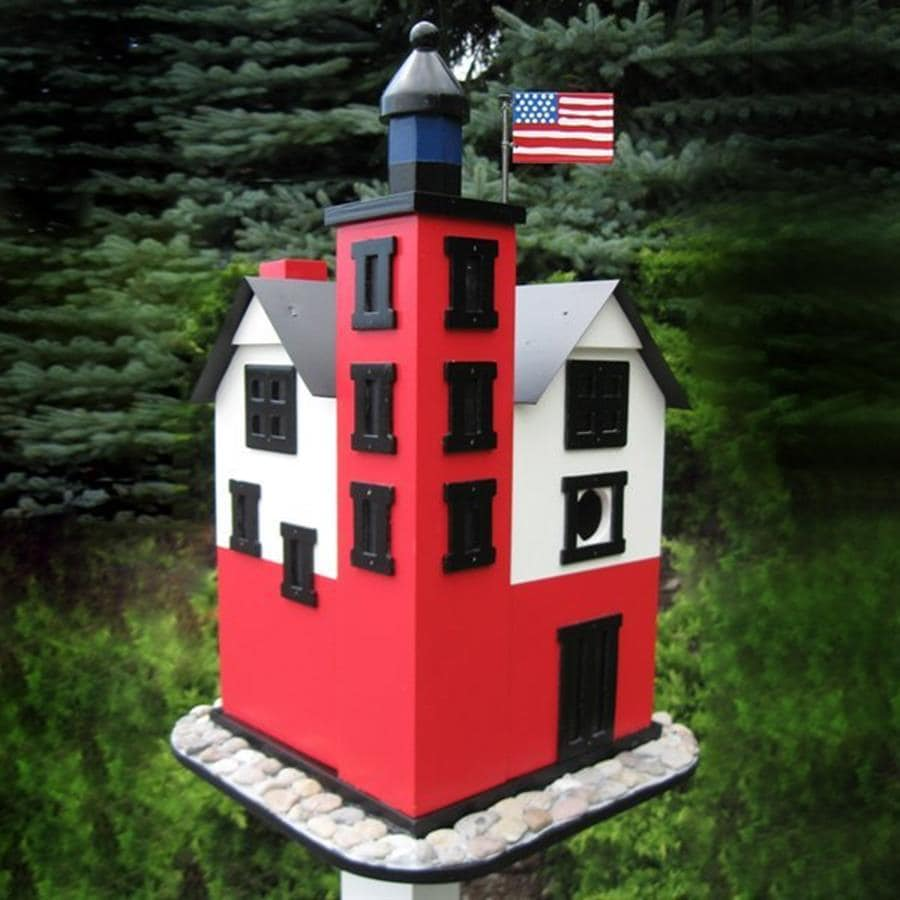 Home Bazaar 11-in W x 17-in H x 11-in D Red Bird House
