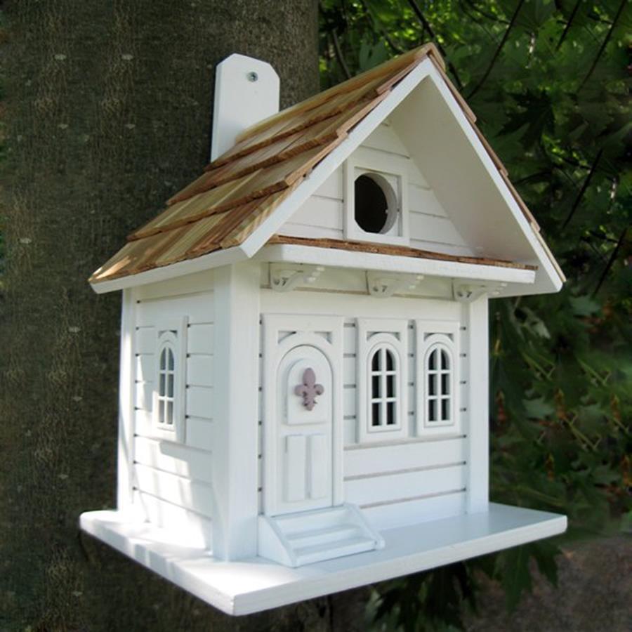 Home Bazaar 6-in W x 10-in H x 8-in D White Bird House