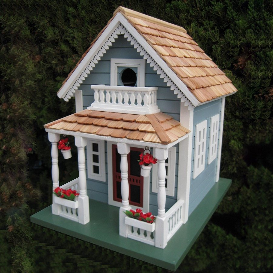 Home Bazaar 10-in W x 13.25-in H x 13.5-in D Blue Bird House