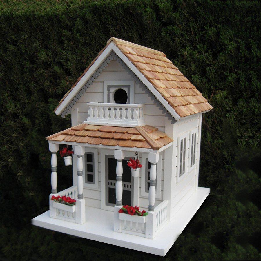 Home Bazaar 10-in W x 13.25-in H x 13.5-in D White Bird House