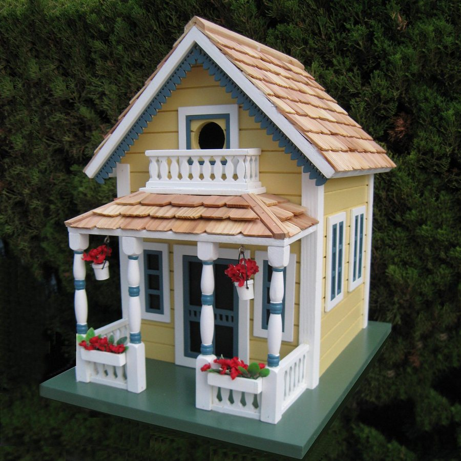 Home Bazaar 10-in W x 13.25-in H x 13.5-in D Yellow Bird House