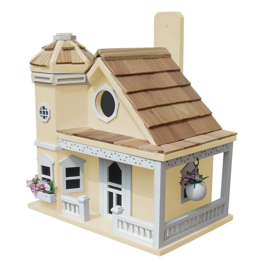 Home Bazaar 9-in W x 9-in H x 10-in D Yellow Bird House
