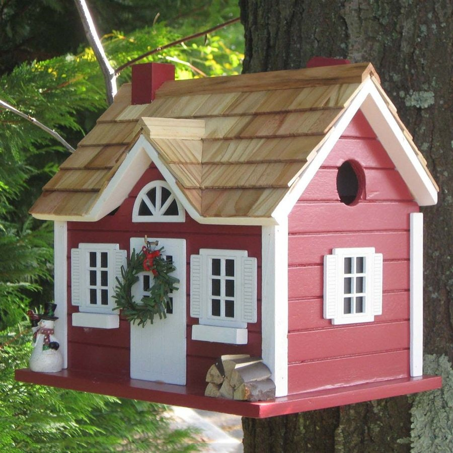 Home Bazaar 10.25-in H x 8-in W x 10-in D Red Bird House