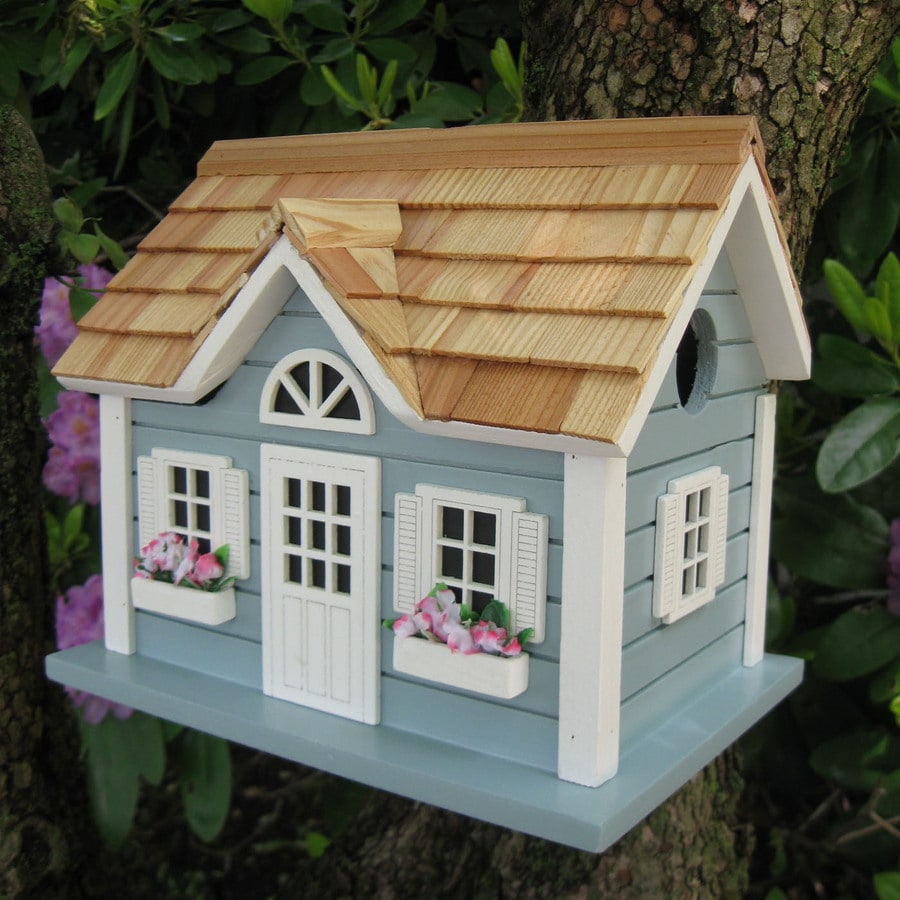 Home Bazaar 9-in W x 9-in H x 10-in D Blue Bird House