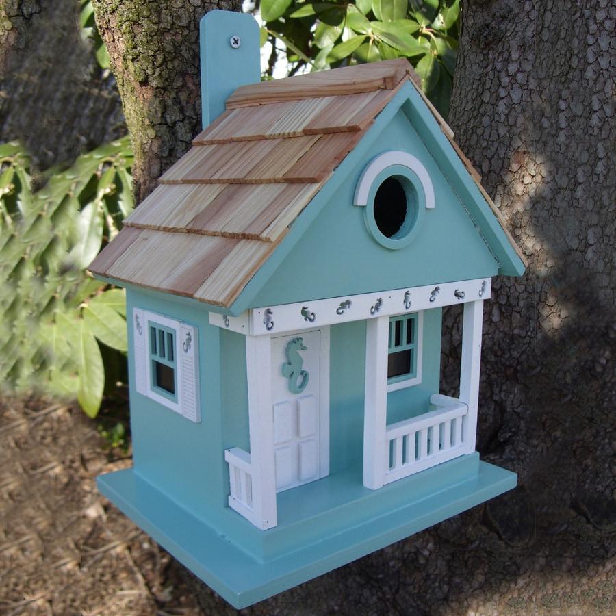 Home Bazaar 8.25-in W x 6.5-in H x 9.5-in D Aqua Bird House