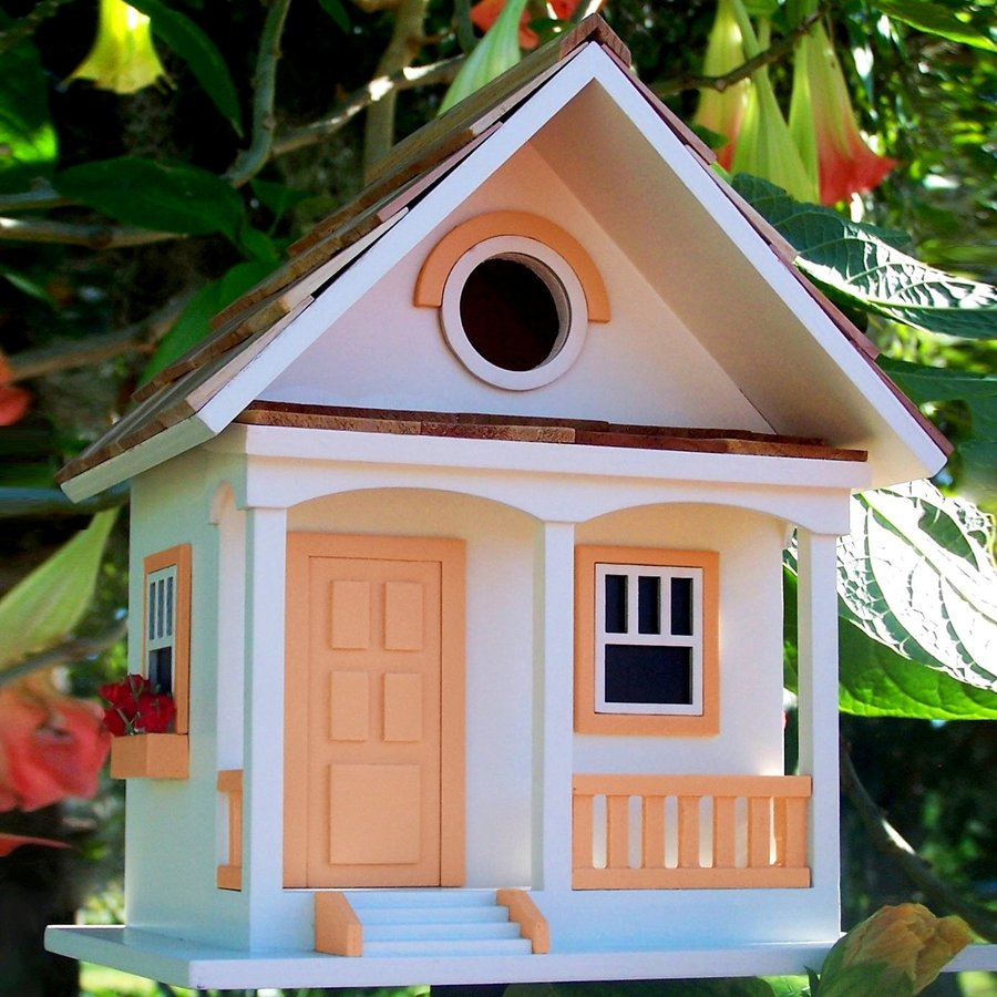 Home Bazaar 6.5-in W x 9.5-in H x 8.25-in D Peaches and Cream Bird House