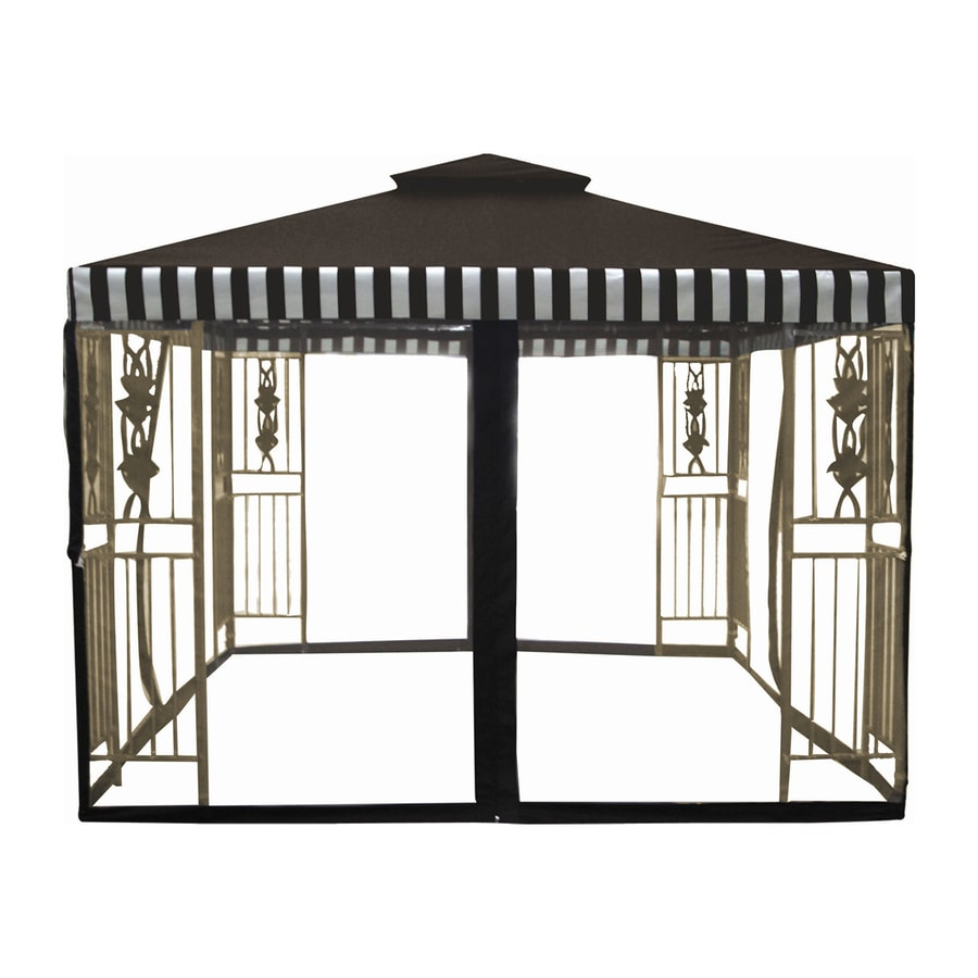 D.C. America Desert Stone Steel Square Screened Gazebo (Exterior: 9.83-ft x 9.83-ft)