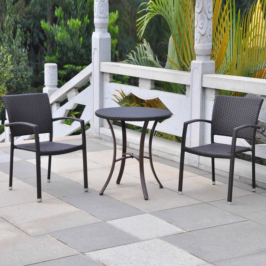 International Caravan Barcelona 3-Piece Chocolate Wicker Bistro Patio Dining Set