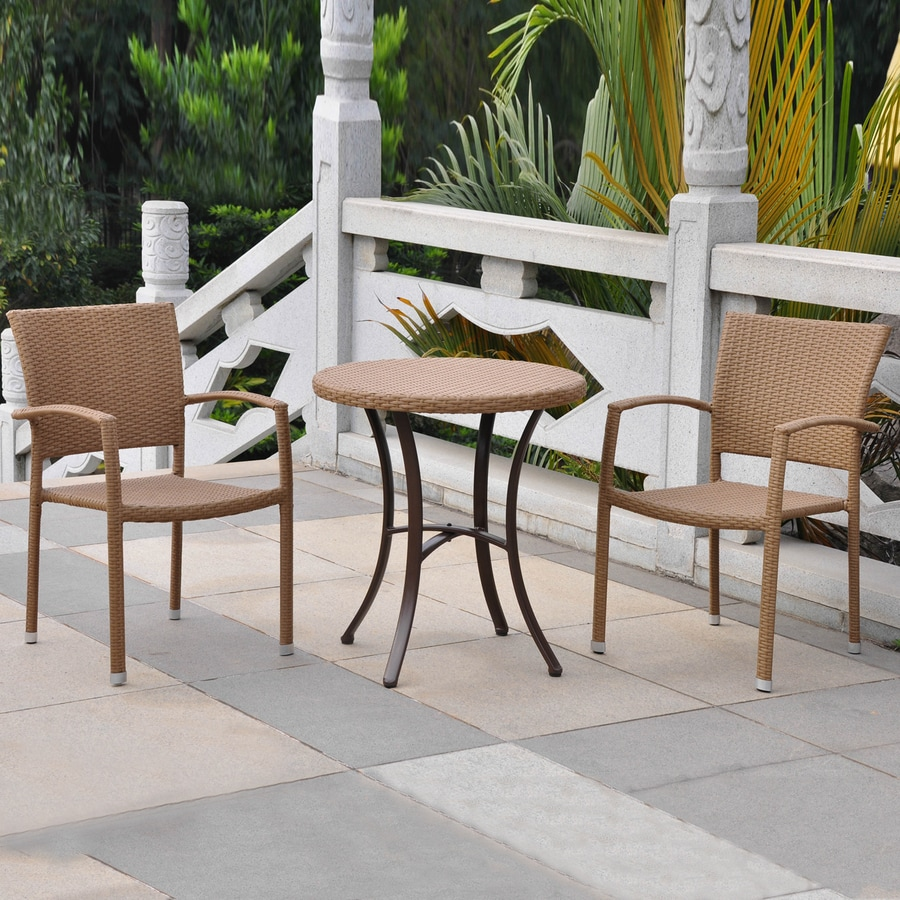 International Caravan Barcelona 3-Piece Honey Wicker Bistro Patio Dining Set