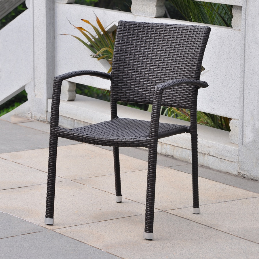 International Caravan Barcelona Chocolate Wicker Stackable Patio Dining Chair