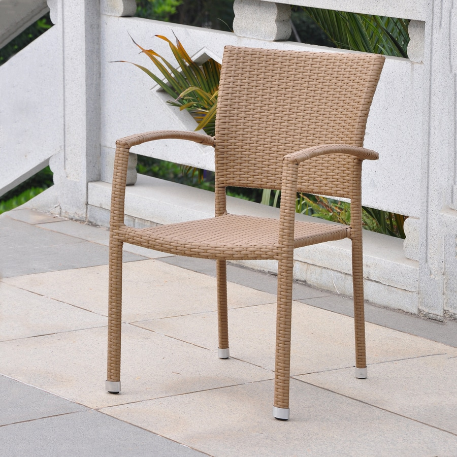 International Caravan Barcelona Honey Wicker Stackable Patio Dining Chair