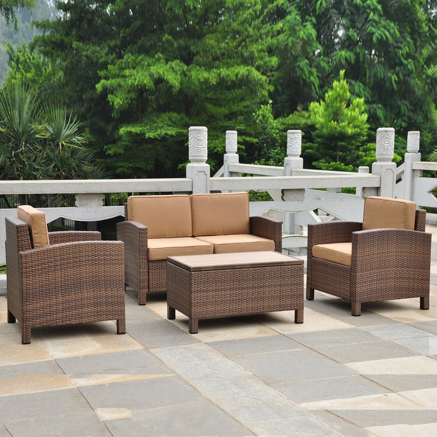 International Caravan 4 Piece Wicker Frame Patio Conversation Set With Coffee Cushions