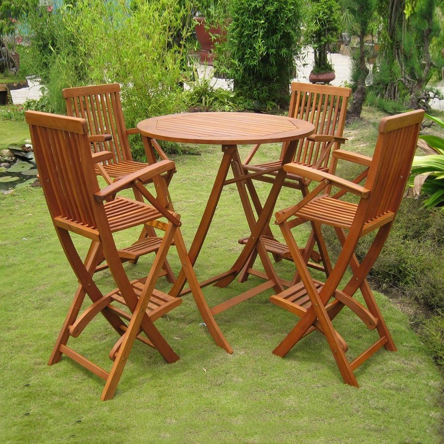 International Caravan Royal Tahiti 5-Piece Balau Bar Patio Dining Set