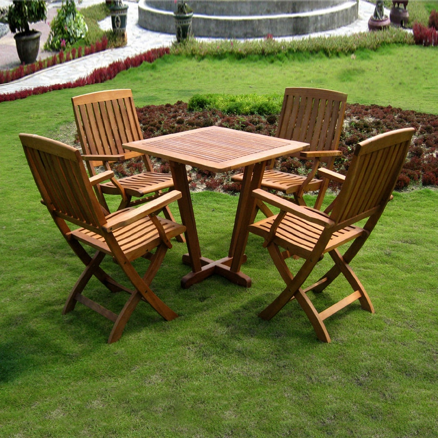 International Caravan Royal Tahiti 5-Piece Balau Dining Patio Dining Set