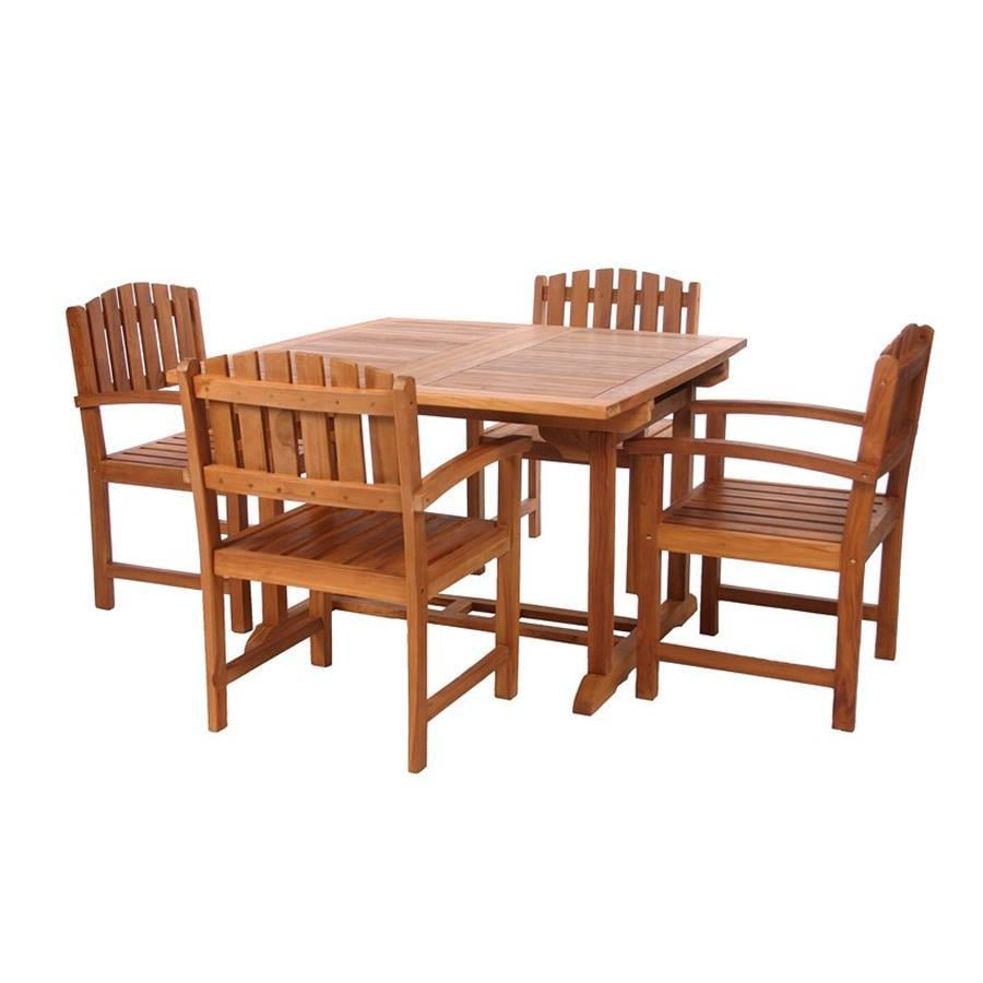 shop all things cedar 5 piece natural teak patio dining set at lowes
