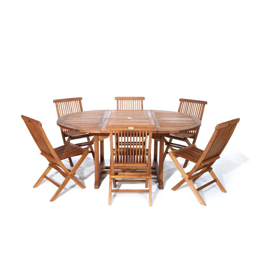 Shop All Things Cedar Piece Brown Wood Frame Patio Dining Set At - Teak patio table with leaf