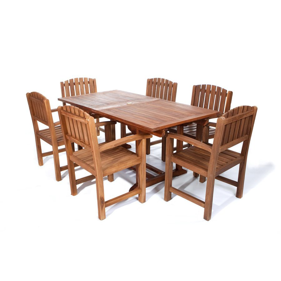 All Things Cedar 7-Piece Natural Teak Patio Dining Set