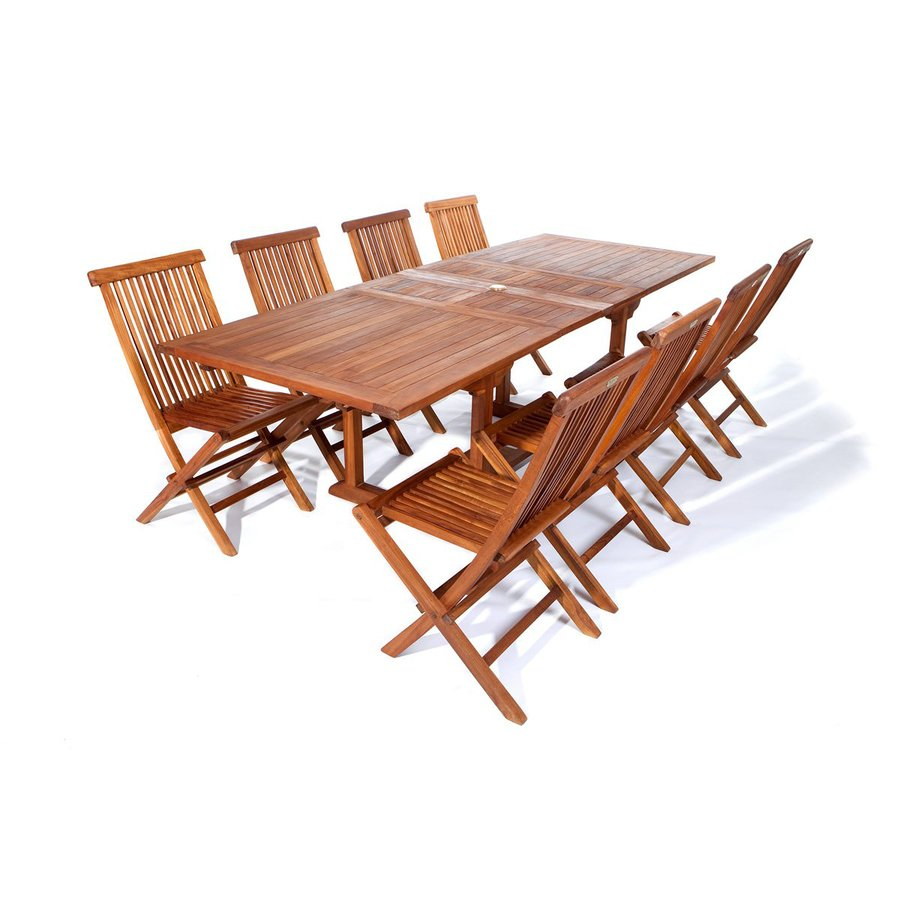 All Things Cedar 9-Piece Natural Teak Patio Dining Set