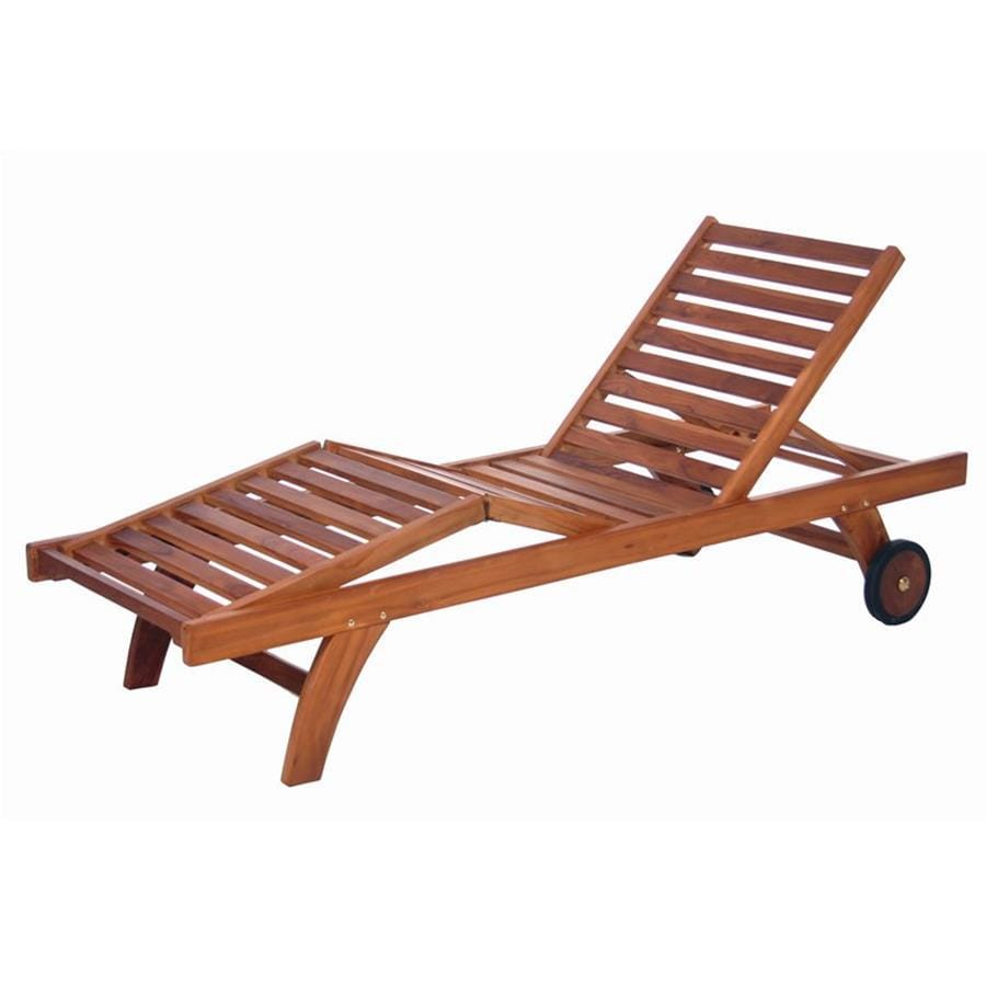 All Things Cedar Brown Teak Patio Chaise Lounge Chair