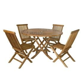 All Things Cedar 5 Piece Natural Teak Patio Dining Set