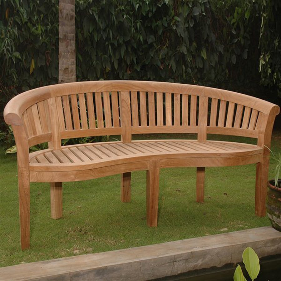 Shop anderson teak curve 26 in w x 64 in l teak patio for Outdoor furniture benches
