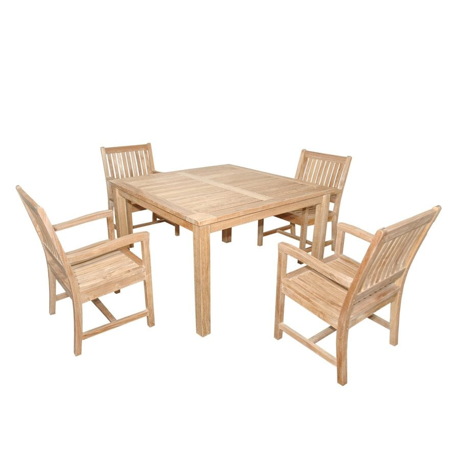 anderson teak rialto 5piece unfinished teak patio dining set