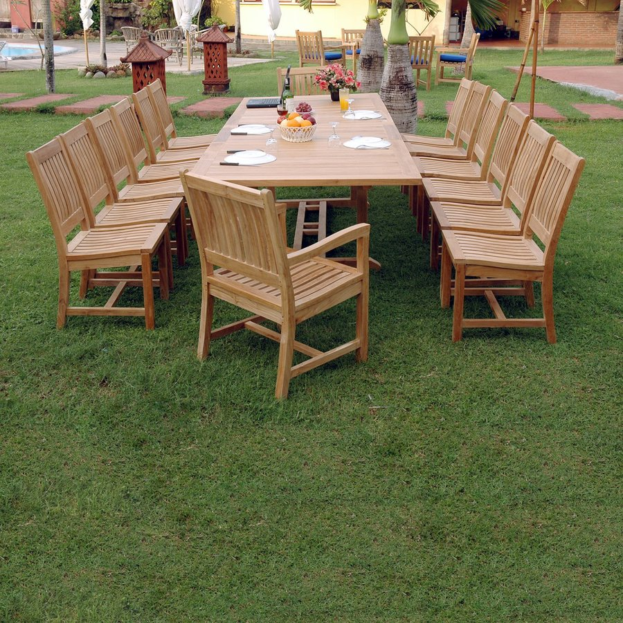 anderson teak valencia 15piece unfinished teak patio dining set