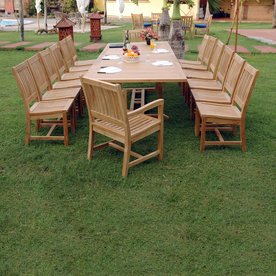 Anderson Teak Valencia 15 Piece Brown Wood Frame Patio Dining Set