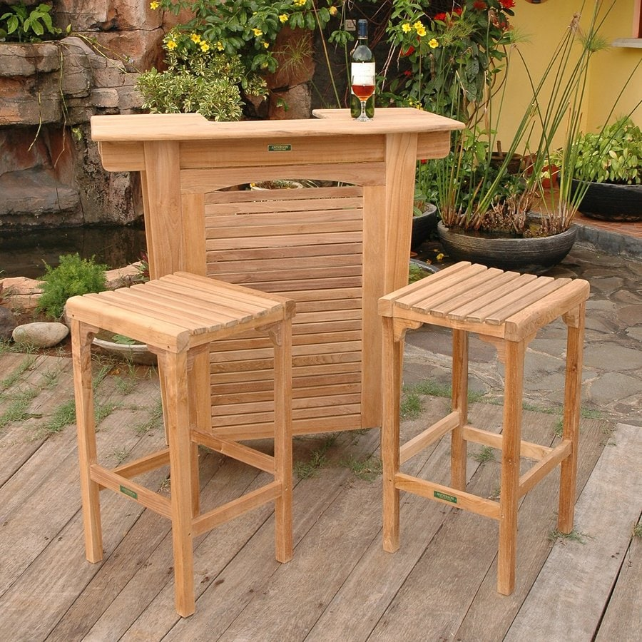Anderson Teak Montego 3-Piece Unfinished Teak Bar Patio Dining Set