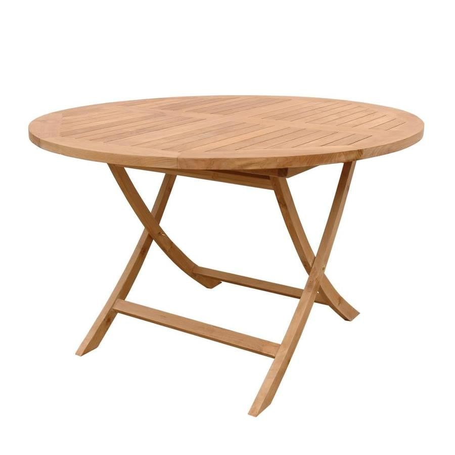 Shop Anderson Teak Bahama Round Teak Folding Dining Table At Lowescom - Anderson round table