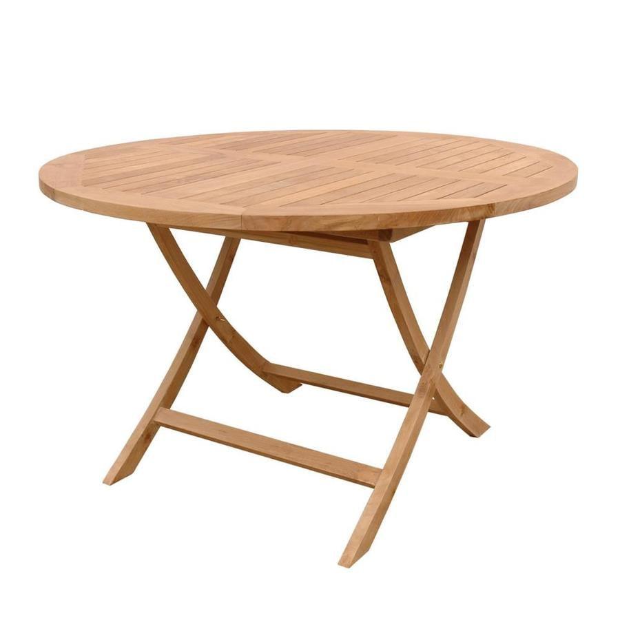 Shop Anderson Teak Bahama Round Teak Folding Dining Table