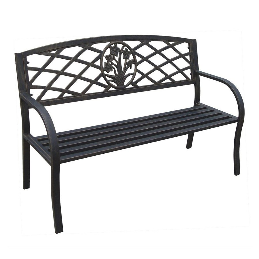 D.C. America Daffodil 22-in W x 49-in L Black Steel Patio Bench