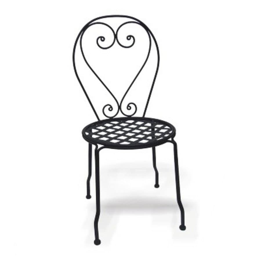 D C America Set Of 4 Black Slat Seat Wrought Iron Patio Dining