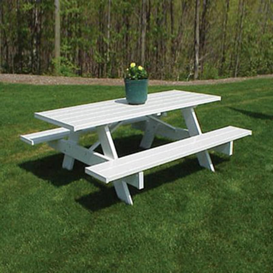 Dura Trel 8 Ft White Rectangle Picnic Table At Lowes Com