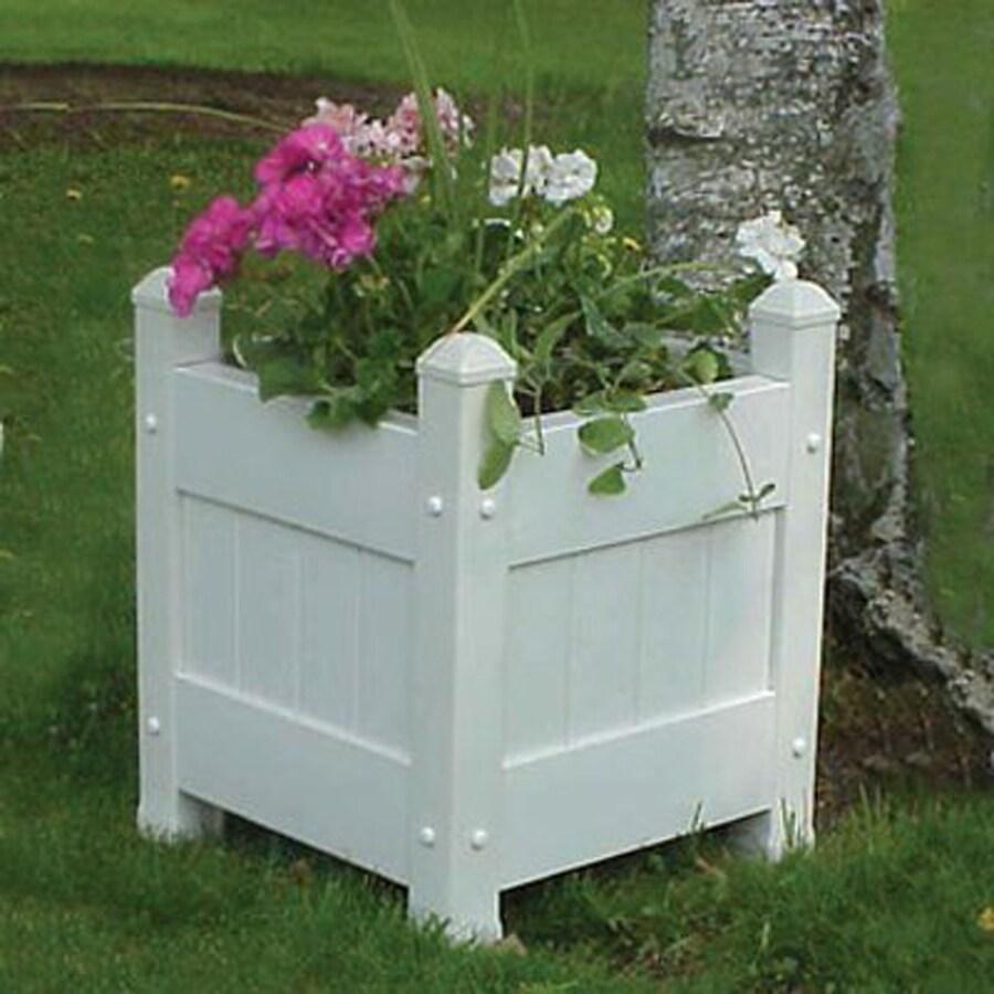 Dura-Trel 19-in H x 16-in W x 16-in D White Outdoor Planter