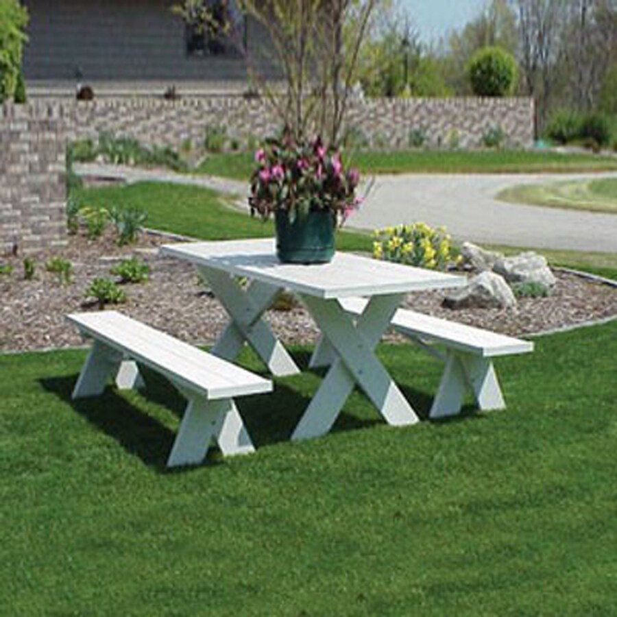 Dura-Trel 6-ft White Rectangle Picnic Table